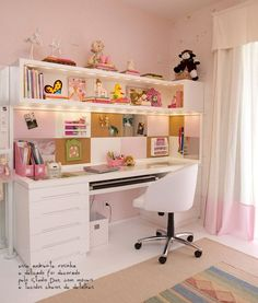 Bedroom Desk Decor Girls Home Office 22 Ideas For 2019 Bedroom Desk, Girls Bedroom, Bedrooms, Bedroom Furniture, Bedroom Themes, Trendy Bedroom, Study Room Decor, Table Design, Design Desk