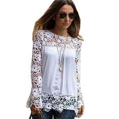 e2ff30805d9 7XL Plus Size Tops Spring Summer White Blouses Women Shirts Lace Blouse  Chiffon Patchwork Loose Shirt