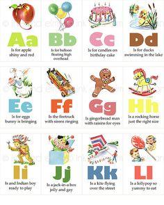 Vintage Alphabet Flashcards Vintage Children's by InkAndElm