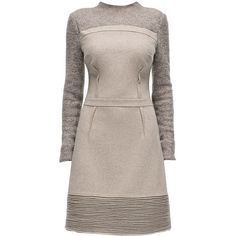 LATTORI Poise, Tight Waist, Long Sleeve, Beige Dress ($349) ❤ liked on Polyvore featuring dresses, lattori, brown dress, longsleeve dress, embellished dresses, fancy dresses and brown long sleeve dress