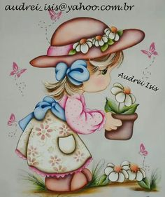 Niña Jardinera Arte Country, Pintura Country, Art Drawings For Kids, Cute Drawings, Tole Painting, Fabric Painting, Meninos Country, Art Pictures, Photos