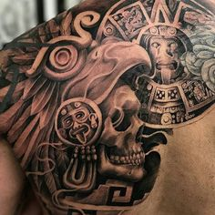 Aztec tattoo by @rodrigomolinatattoo #mexicanstyle_tattoos #mexicanculture #mexstyletats #blackandgrey #tattoos #ink #aztectattoo #aztec #azteca