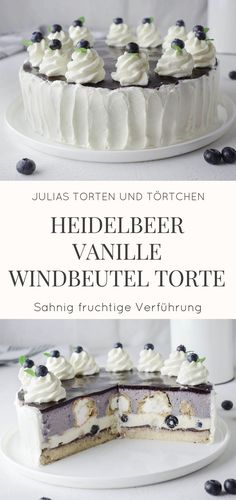 Heidelbeer Vanille Windbeutel Torte Rezept für leckere Heidelbeer Vanille Wind… Blueberry vanilla cream puff pie recipe for delicious blueberry vanilla puff pie. Perfect for special occasions or as a Sunday cake. Creamy fruity cream cake with blueberries. Cream Puff Cakes, Cream Cake, Food Cakes, Vanilla Cream, Vanilla Cake, Flaky Pastry, Blueberry Recipes, Blueberry Cake, Health Desserts