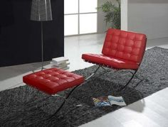 MLF® Knoll Barcelona Chair & Ottoman (Red). Superior Craftsmanship. Premium Aniline Leather, High Density Foam Cushions & Seamless Visible Corners. Polished Stainless Steel Frame Riveted with Cowhide Saddle Straps, Resistance to Chipping, Corrosion & Rust. $889 at Amazon.com!