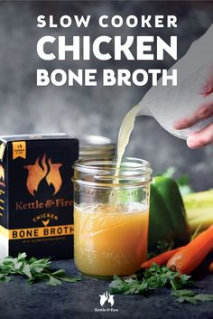 This is a Kettle & Fire tested and true slow cooker chicken bone broth recipe that features organic chicken bones, fresh vegetables and herbs.