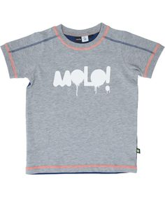 Molo! grijze t-shirt met blauwe rug en fluo details. molo.nl.emilea.be