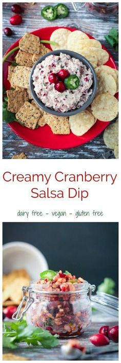 Creamy Cranberry Salsa Dip - creamy, tangy, sweet and spicy. This cranberry salsa dip is the perfect snack for your next holiday party. So easy to make! #vegan #glutenfree #cranberries #salsa #Christmas #appetizer #dip #party #holiday via @veggieinspired
