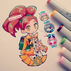 "A character from a lovely animated short called ""I Can Friday By Day! Marker Kunst, Copic Marker Art, Copic Art, Art Manga, Manga Drawing, Kawaii Art, Kawaii Anime, Chibi Kawaii, Beautiful Drawings"