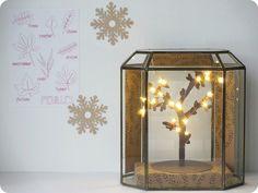 Une mini-serre dans ma déco : réaliser une ambiance DIY dans une mini-serre ou un terrarium avec des matériaux de récup et une guirlande lumineuse