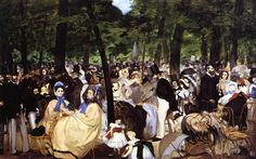 Music in the Tuileries Garden  Artist: Edouard Manet  Completion Date: 1862  Place of Creation: Paris, France  Style: Impressionism  Genre: genre painting
