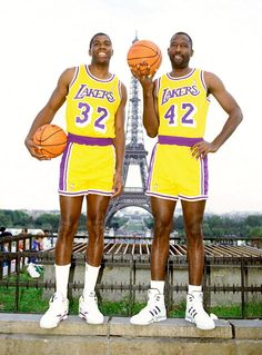 LAKER LEGENDS - Magic and big James!  Great together on fast breaks!