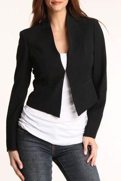 Nine West Collarless Crepe Jacket