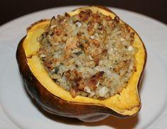 Rice and Chicken Stuffed Acorn Squash Recipe