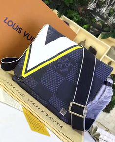 Louis Vuitton Damier Cobalt District PM Yellow.  See more Louis Vuitton bags at https://www.luxtime.su/louis-vuitton-handbags
