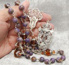 Purple Charoit Rosary Wire-wrap Sterling Silver Unbreakable Crystal Heirloom Custom by HeartFelt Rosaries