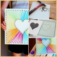 Heart String Art - Sugar Bee Crafts