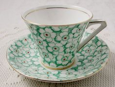 Vintage Tea Cup and Saucer by Bell China, Green Flowers, Chintz, English Bone China