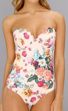 Floral maillot, I love the scalloped sweet heart bust.