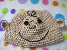 Crochet Charlie Brown inspired hat by KnotsInYarn on Etsy Crochet Kids Hats, Crochet Beanie, Crochet Cross, Hand Crochet, Yarn Projects, Crochet Projects, Crochet Character Hats, Crochet Disney, Crochet Patterns