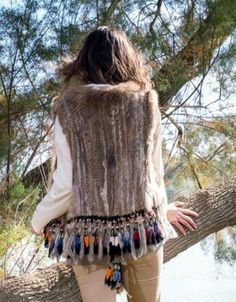 Rabbit Fur Vest w/Multicolor Fringe