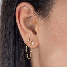 Double Ear Piercings, Pretty Ear Piercings, Ear Peircings, Double Nostril Piercing, Second Piercing, Double Earrings, Chain Earrings, Cute Earrings, Cute Cartilage Earrings