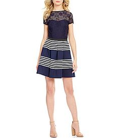 0af738e4bf6 Xtraordinary Lace Bodice Striped Skirt Short-Sleeve Fit-and-Flare Dress