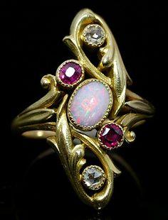 Art Nouveau ring, with, rubies, diamonds and opal. Opal Jewelry, Sea Glass Jewelry, Jewelry Art, Antique Jewelry, Jewelry Gifts, Jewelery, Vintage Jewelry, Fine Jewelry, Jewelry Design
