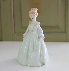 Vintage Lady Figurine Celadon Green Dress Bow Girl Figure Vanity Decor Hand Painted Porcelain Spaghetti Trim Cottage Home Decor Collectible by IguanaFindIt on Etsy