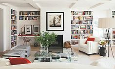 floor to ceiling bookcases...