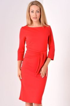 Kira Pencil Dress with Tie Detail in Red