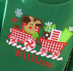 Boys Personalized REINDEER Christmas  Train on Long by lilshabebe