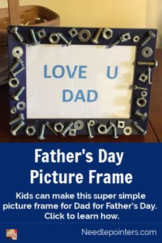 All it takes to create this super quick, easy, and inexpensive Father's Day gift idea is some nuts,  bolts, screws, and washers laying around the house along with an old picture frame and glue.