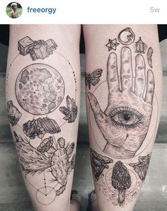 'Night blooming cactus, full moon, wulfenite, flourite, Quartz and tourmaline. Gnostic hand with virgin tiger moth, stellated octahedron, ouroboros and a cat tooth.' tattoo artist @freeorgy on insta from portland, OR
