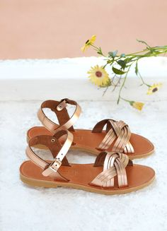 Leather sandals, Luxury greek sandals in rose gold leather, Women's shoes Shoes Flats Sandals, Kids Sandals, Leather Sandals, Strappy Sandals, Women's Shoes, Rose Gold Sandals, Gold Shoes, Baby Girl Sandals, Greek Sandals