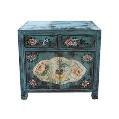 Chinees kastje blauw met bloemen