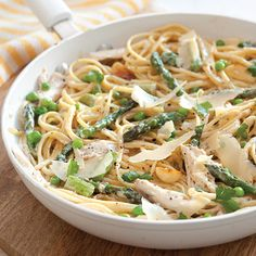 This Chicken Fettuccine recipe is so versatile. Use whatever combo of meat and veggies your family likes.     Save Recipe Print  Chicken Fettuccine with Asparagus and Peas