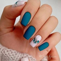 21 Gleaming Rhinestones Nail Perfection For An Incredible Mani: Matte Nail Designs With Rhinestones #manicure; #nails; #nailart