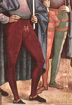 Men's hose Italian Renaissance - were tied to the doublet and cut either as two separate pieces or seamed together at the crotch. Renaissance Mode, Renaissance Costume, Medieval Costume, Renaissance Fashion, Renaissance Clothing, Medieval Dress, Italian Renaissance, Medieval Art, 15th Century Fashion