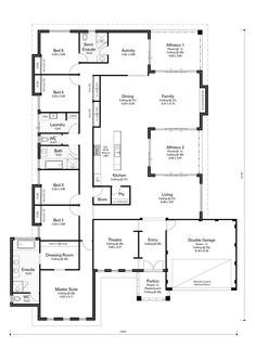 Enjoy the comforts of Daikin air conditioning, high ceilings to the living area and a kitchen with a essastone benchtop and breakfast bar overhang. 5 Bedroom House Plans, Family House Plans, Best House Plans, Dream House Plans, House Floor Plans, Home Design Floor Plans, Plan Design, House Plans Australia, Bathroom Floor Plans