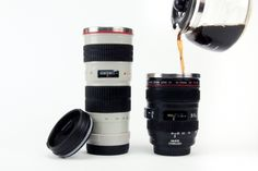 """coffee mugs that look exactly like canon and nikon lenses! piggy-banks that look just like your dslr!  pretty sure I """"need"""" one! :D"""
