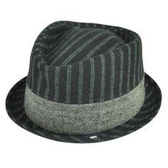 8636fd7d5b9 Block Headwear Brand Pinstripe Herringbone Blk Fedora Stetson Trilby Hat  Large