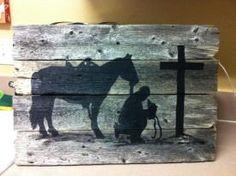 16x20 Barnwood praying cowboy