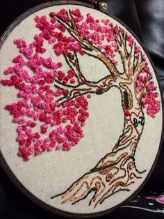 Cherry blossom tree embroidery, valentines, hearts, tree.