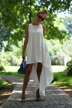 - Total Street Style Looks And Fashion Outfit Ideas High Low Chiffon Dress, High Low Summer Dresses, White Summer Outfits, Summer Sundresses, Summer Maxi, White Chiffon, Outfit Summer, Casual Summer, Look Fashion