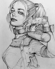 harley quinn drawing in pencil Toh-Yasu藤保 #007, 藤保 Toh-Yasu