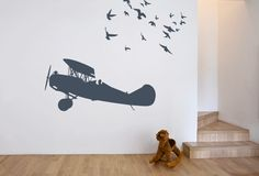 StickerOp - vliegtuig oldtimer Baby Boy Rooms, Baby Room, Deco Aviation, Nursery Room, Kids Bedroom, House Inside, Binky, Kidsroom, Future Baby