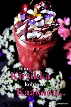 Kirsikka-suklaapirtelö | paleokeittio.fi Koti, Matcha, Cereal, Paleo, Breakfast, Desserts, Morning Coffee, Tailgate Desserts, Deserts