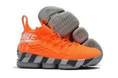 online store 8b69f 5f906 2018 New Nike LeBron 15 Orange Box Total Orange White-Mine Grey Basketball  Shoes On