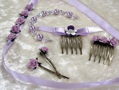 Lavender ballet bun ribbon, adornment, pins and combs