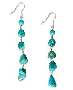 Avalonia Road Sterling Silver Earrings, Turquoise Long Drop Earrings (7-5/8 ct. t.w.) - Earrings - Jewelry & Watches - Macy's